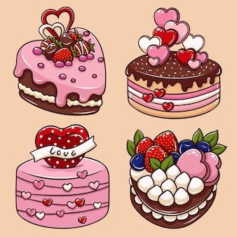 Illustratie van de cake van de beeldverhaalvalentijnskaart