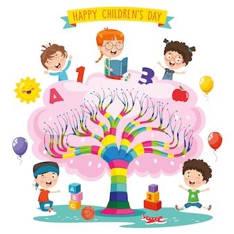 Illustratie van de dag van kinderen