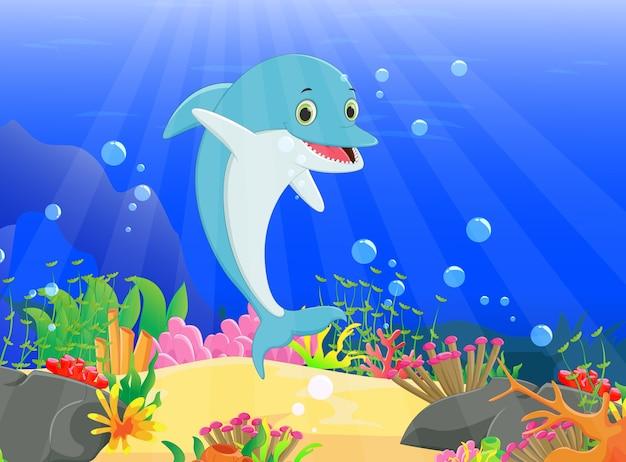 Illustratie van de dolfijn met een prachtige onderwaterwereld