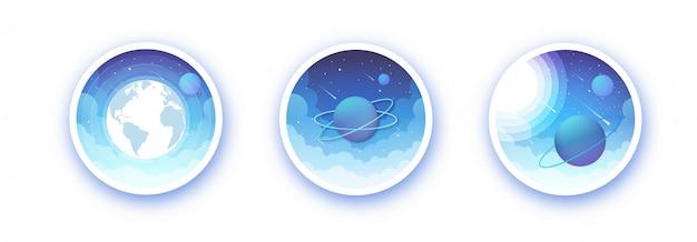 Illustratie van de geringde planeet in het zonnestelsel en de aarde op een heldere nacht