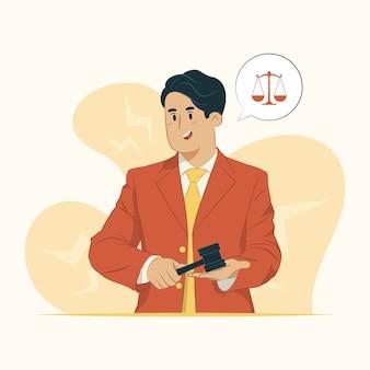 Illustratie van de hamer van de advocaatholding