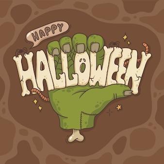 Illustratie van de hand met de inscriptie halloween