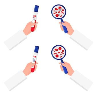 Illustratie van de handen van een ductor die een reageerbuis met een bloedtest voor hiv en een vergrootglas vasthoudt.