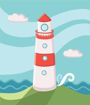 Illustratie van de hemel en de golven van de eilandvuurtoren