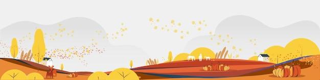 Illustratie van de herfst of herfstseizoen landelijke plattelandsachtergrond met de bladeren van het hutgebladerte paarden