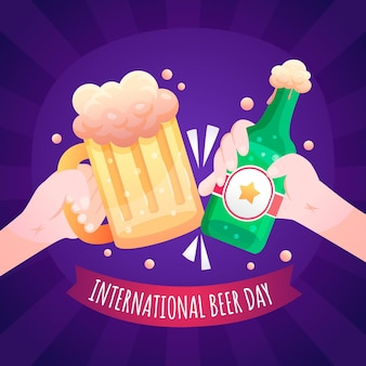 Illustratie van de internationale bierdag met kleurovergang