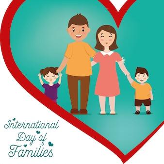 Illustratie van de internationale dag van het gezin. gelukkige familie, moeder, vader en hun kinderen, jongen en meisje