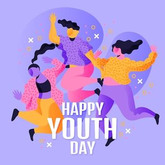 Illustratie van de internationale jeugddag met kleurovergang