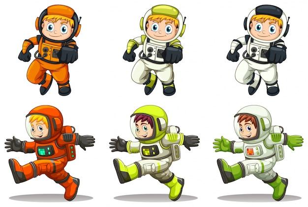 Illustratie van de jonge astronauten op een witte achtergrond