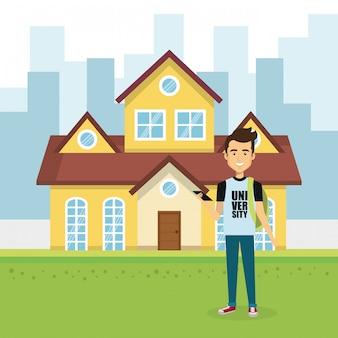 Illustratie van de jonge man buiten huis