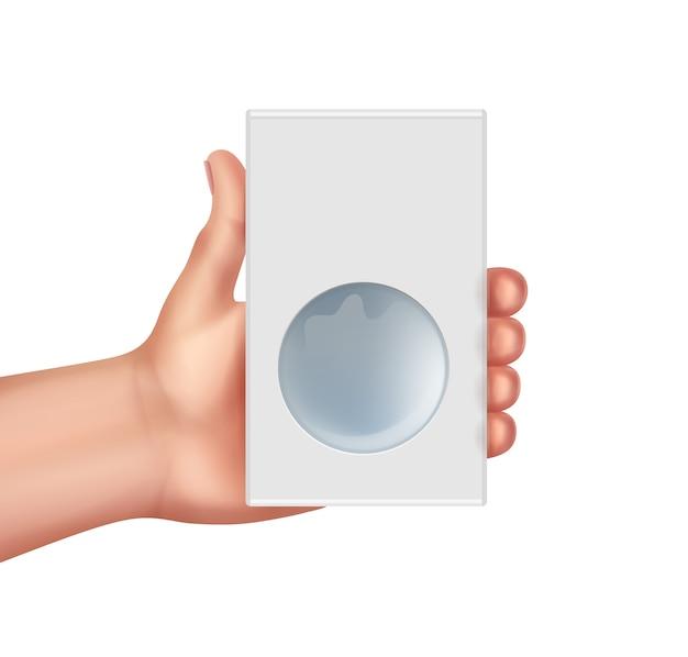 Illustratie van de kartonnen doos van de handgreep