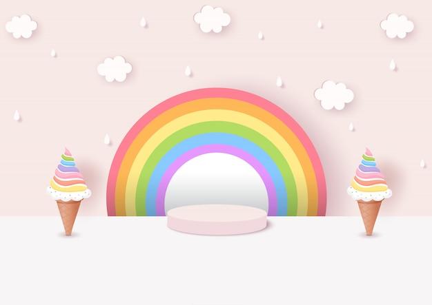 Illustratie van de kegel van het regenboogroomijs met roze achtergrond op 3d stijl wordt verfraaid die