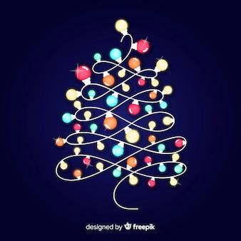 Illustratie van de kerstboom de lichte slinger