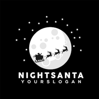 Illustratie van de kerstman die de maan oversteekt