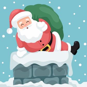 Illustratie van de kerstman die door de schoorsteen van een huis binnenkomt
