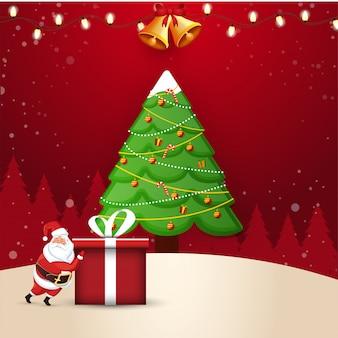 Illustratie van de kerstman die een giftdoos met kenwijsjeklokken en decoratieve kerstmisboom duwt op rood. wenskaart voor kerstmis.