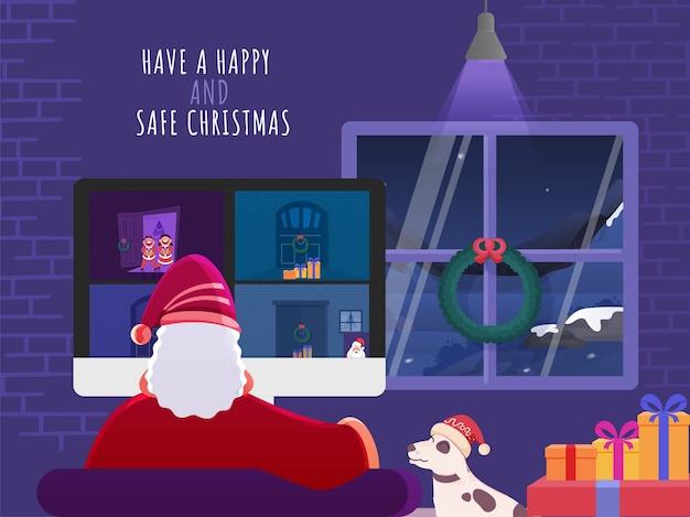 Illustratie van de kerstman die een videogesprek met mensen heeft en zegt dat hij een geschenk van de deur moet ophalen