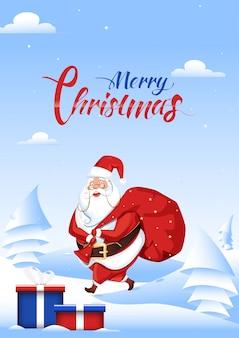 Illustratie van de kerstman die een zware zak en giftdozen op sneeuwlandschap opheft