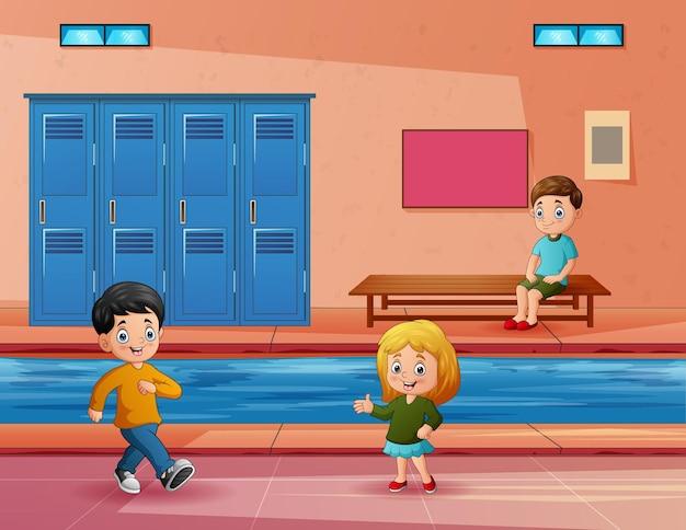 Illustratie van de kinderen in een overdekt zwembad