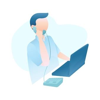 Illustratie van de klantendienst met de mens die op telefoon spreekt dient klanten