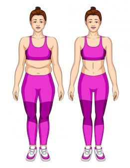 Illustratie van de lichaamstransformatie van de vrouw