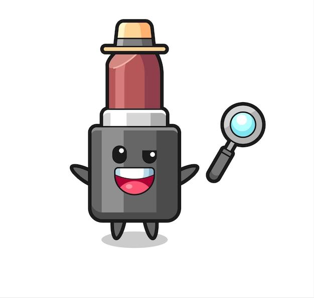 Illustratie van de lippenstiftmascotte als detective die erin slaagt een zaak op te lossen, schattig stijlontwerp voor t-shirt, sticker, logo-element