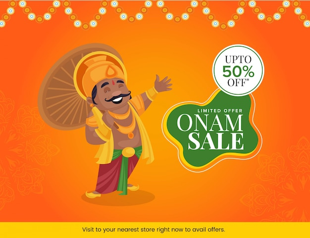 Illustratie van de mahabalikoning met het gelukkige ontwerp van de onam-verkoopbanner