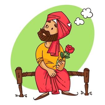 Illustratie van de man van punjabi met roos.