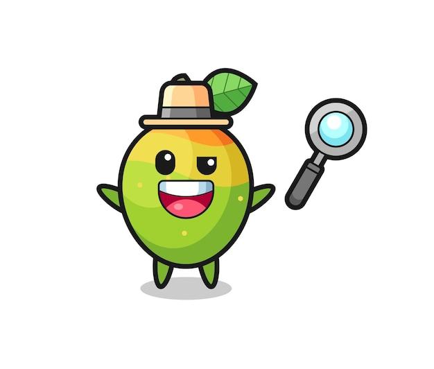 Illustratie van de mango-mascotte als detective die erin slaagt een zaak op te lossen, schattig stijlontwerp voor t-shirt, sticker, logo-element