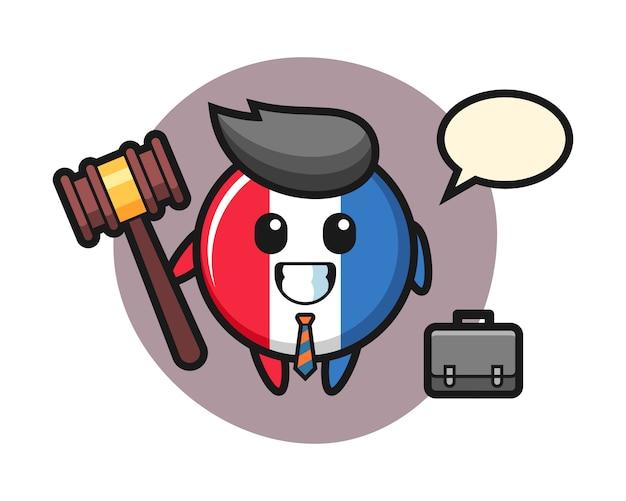 Illustratie van de mascotte van het de vlagkenteken van frankrijk als advocaat