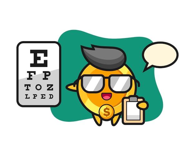 Illustratie van de mascotte van het dollarmuntstuk als oftalmologie