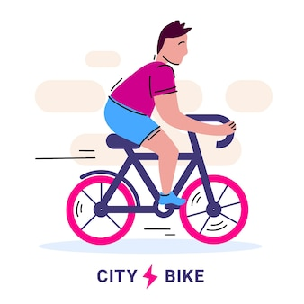 Illustratie van de mens die een stadsfiets berijdt