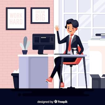 Illustratie van de mens die op het kantoor werkt