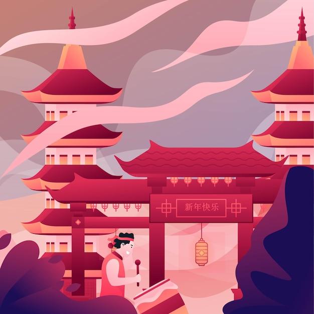 Illustratie van de mens die trommels slaat bij de tempel om chinees nieuwjaar te vieren