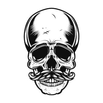 Illustratie van de menselijke schedel met snorren op witte achtergrond. illustratie