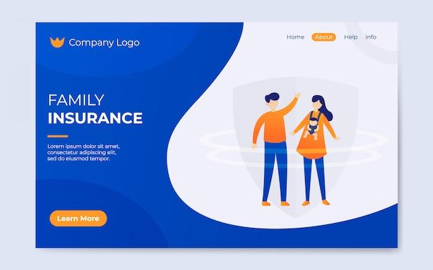 Illustratie van de moderne platte familie verzekering landing pagina