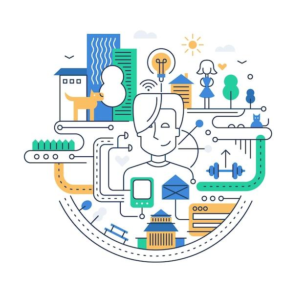 Illustratie van de moderne samenstelling van de lijnstad met mensen, gebouwen en andere infographicselementen