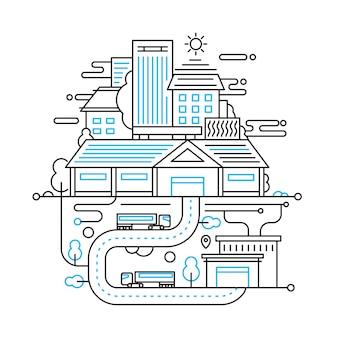 Illustratie van de moderne samenstelling van de lijnstad met stadsgebouwen, stadsgezicht en infographicselementen van de stadslevensstijl