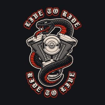 Illustratie van de motor met slang