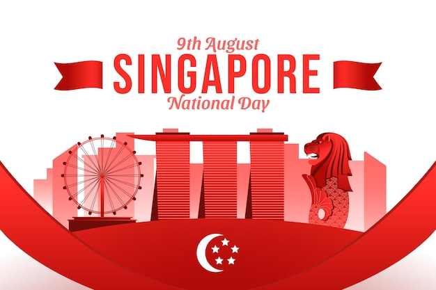 Illustratie van de nationale feestdag van singapore