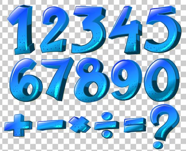 Illustratie van de nummers en wiskundige symbolen in blauwe kleur op een witte achtergrond