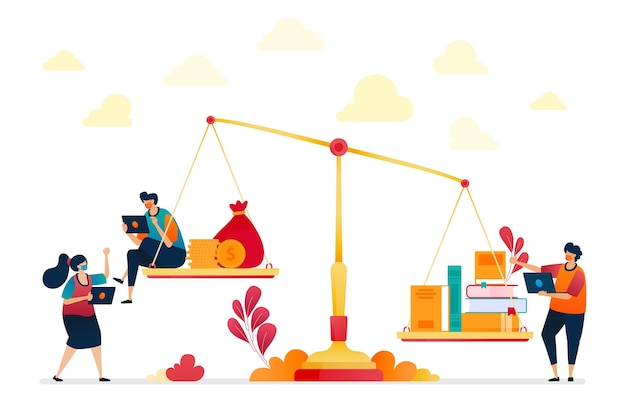 Illustratie van de onderwijskosten. metafoor door boeken en geld. hoogwaardig onderwijs.