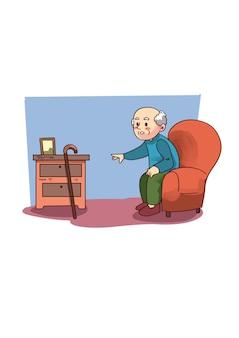 Illustratie van de oude man zittend op de bank