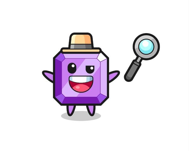 Illustratie van de paarse edelsteenmascotte als detective die erin slaagt een zaak op te lossen, schattig stijlontwerp voor t-shirt, sticker, logo-element