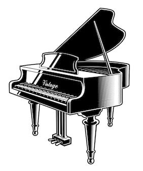 Illustratie van de piano. geïsoleerd op de witte achtergrond.