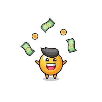 Illustratie van de pingpong die geld vangt dat uit de lucht valt, schattig ontwerp