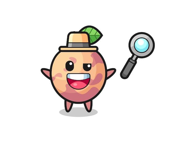 Illustratie van de pluot fruit-mascotte als een detective die erin slaagt een zaak op te lossen, schattig stijlontwerp voor t-shirt, sticker, logo-element
