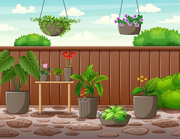 Illustratie van de pot met planten binnen het hoge hek