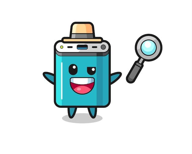 Illustratie van de powerbank-mascotte als detective die erin slaagt een zaak op te lossen, schattig stijlontwerp voor t-shirt, sticker, logo-element
