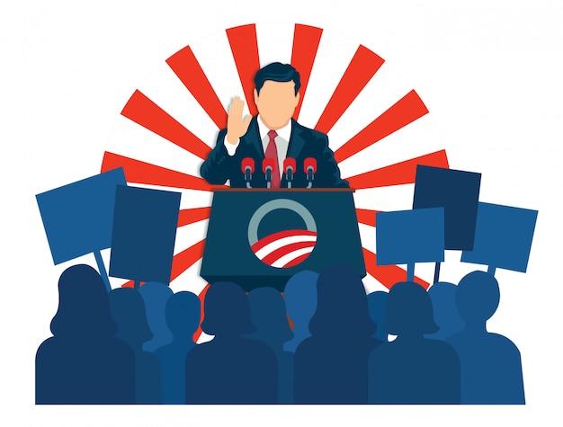 Illustratie van de president die een toespraak hield
